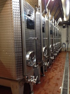 stainless steel tanks in the winery