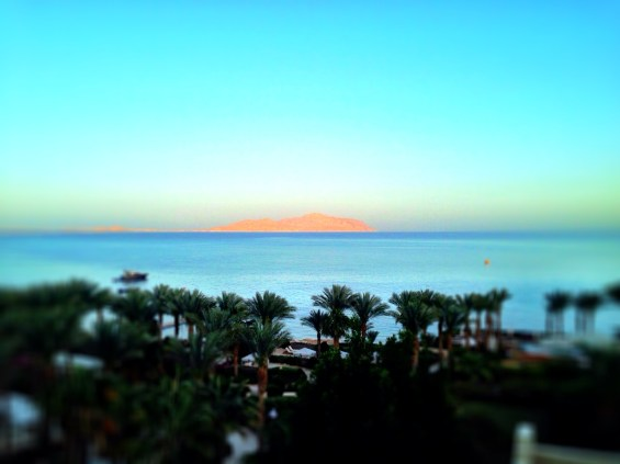 Tiran Island at sunset, view from our balcony