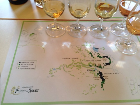 tasting and map of Perrier Jouet vineyards