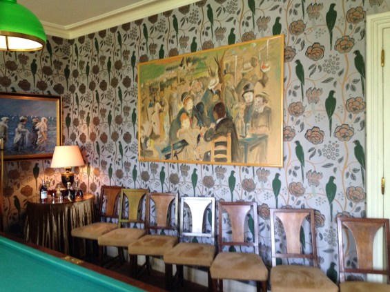 hand painted wallpaper in the Billiard room