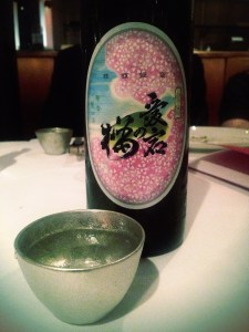 Sake served in a tin cup