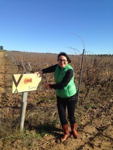 Winemaker Eva Plazas amongst the xarello