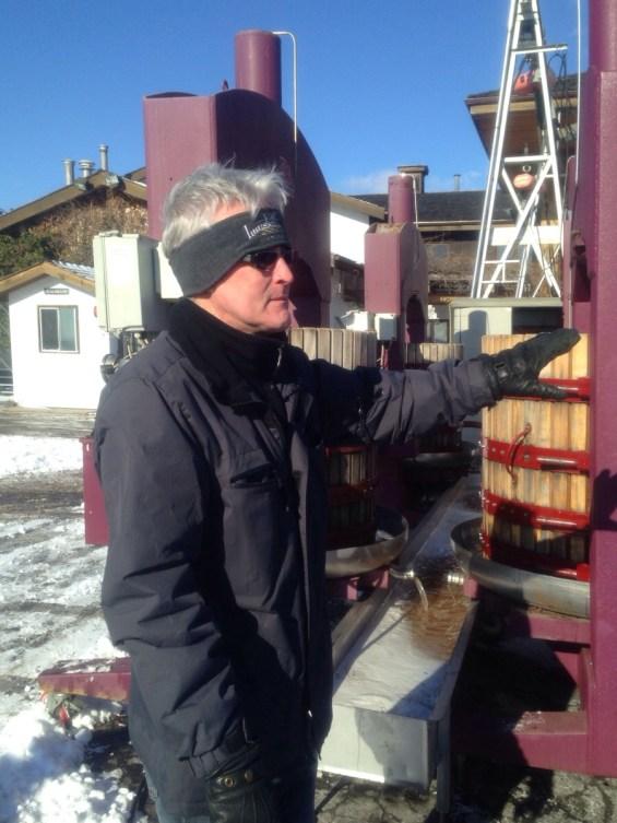 Head Winemaker Bruce Nicholson at the press