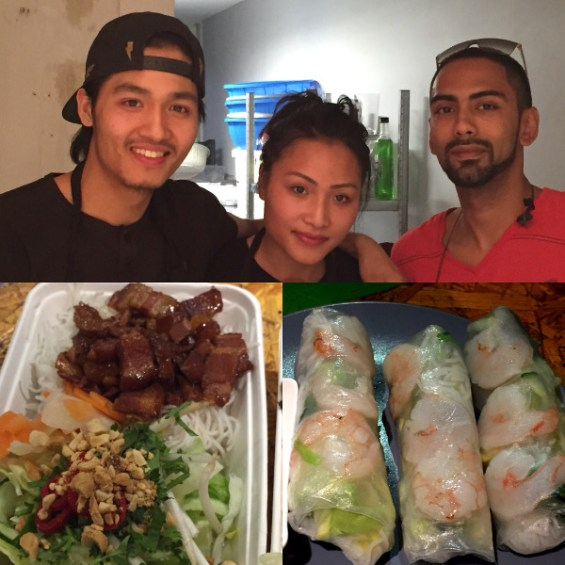 Nam, his sister and contributor, the sticky pork belly and summer rolls at Artworks Elephant