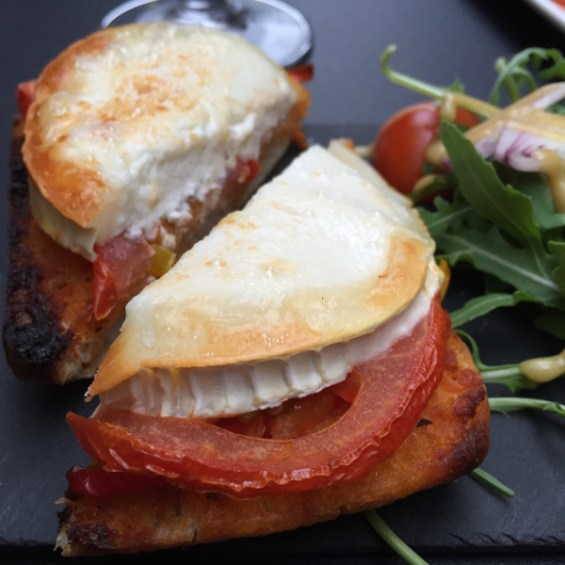 txigorki goat cheese and tomato on toasted bread Camino Bankside London