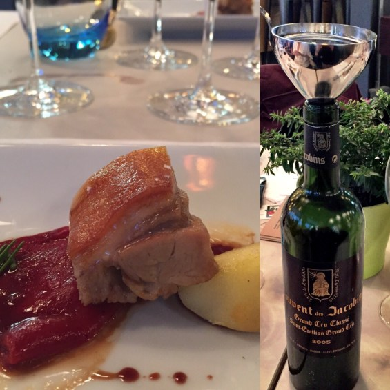 St Emilion and the suckling pig at Vinothec Compass