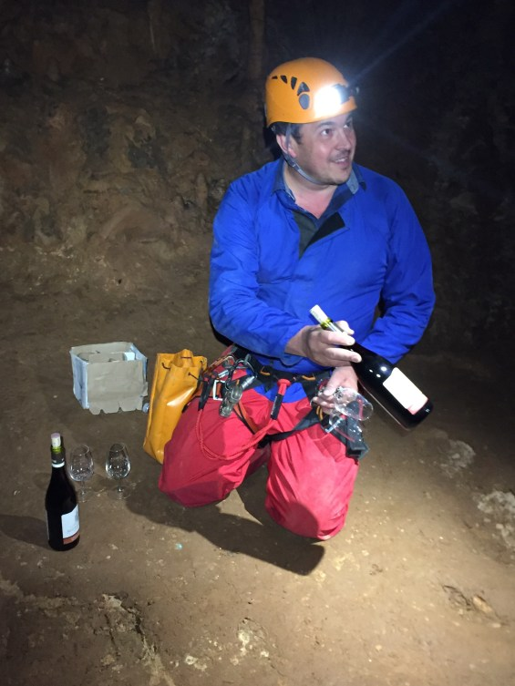 Raphael Pommier, winemaker, literally a blind tasting in the pitch black darkness of the caves, Rhone Valley, France, Grotte de St Marcel d'Ardeche