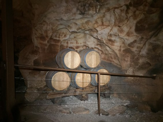 barrels in the cave, Rhone Valley, France, Grotte de St Marcel d'Ardeche