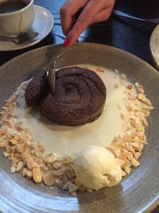 Chocolate and Almond Torte with Creme Anglais, Raymond Blanc, Brasserie Blanc, London