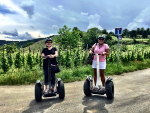 The WInesleuth and Hot and Chilli on Segways in the Rhone Valley, vineyard