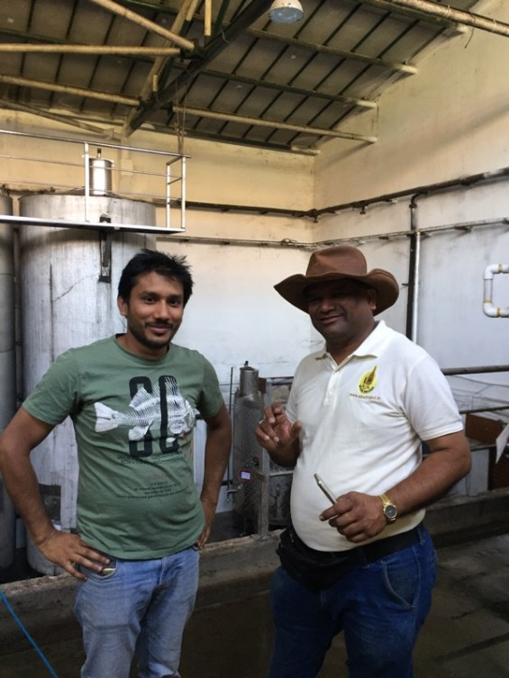 winemaker Abhay Rajaria with wine guide Manoj Jagtap, Nashik Valley, Maharashtra, India, Indian wine