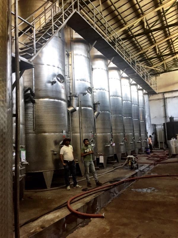 stainless steel tanks of Grover Zampa winery, Nashik Valley, Maharashtra, India, Indian wine