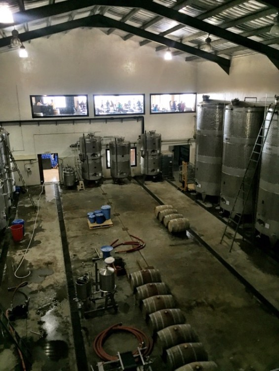 view of the winery at York Winery with stainless steel tanks and barrels,Nashik Valley, Maharashtra,India, Indian Wine