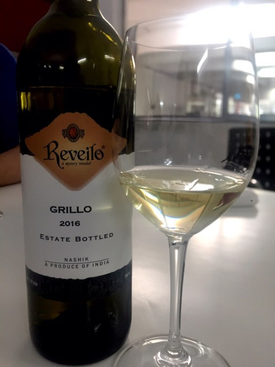 a glass of Grillo by Reveilo Winery, Nashik Valley, Maharashtra, India, Indian Wine