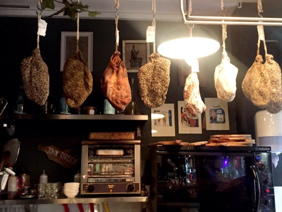Italian charcuterie hanging at Champagne + Fromage, Brixton Village, Brixton, London