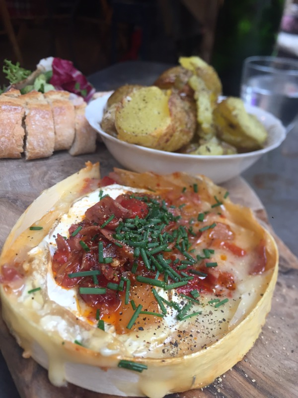 Baked Camembert with sundried tomatoes and pesto at Champagne + Fromage, Brixton Village, Brixton, London