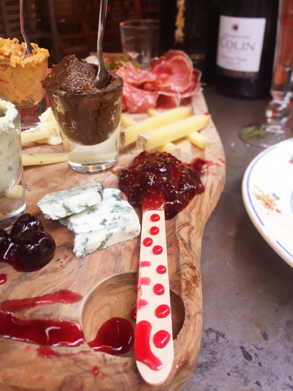olive tapenade and Stilton cheese with strawberry jam at Champagne + Fromage, Brixton Village, Brixton, London