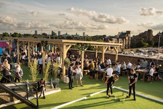 croquet at the Skylight Rooftop Bar at Tobacco Docks, East London