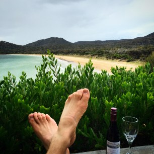 Putting my feet up at Freycinet Lodge