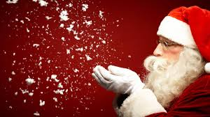Santa blowing snow