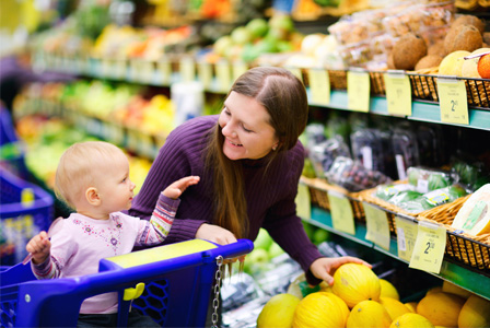 Mom and baby at a grocery store