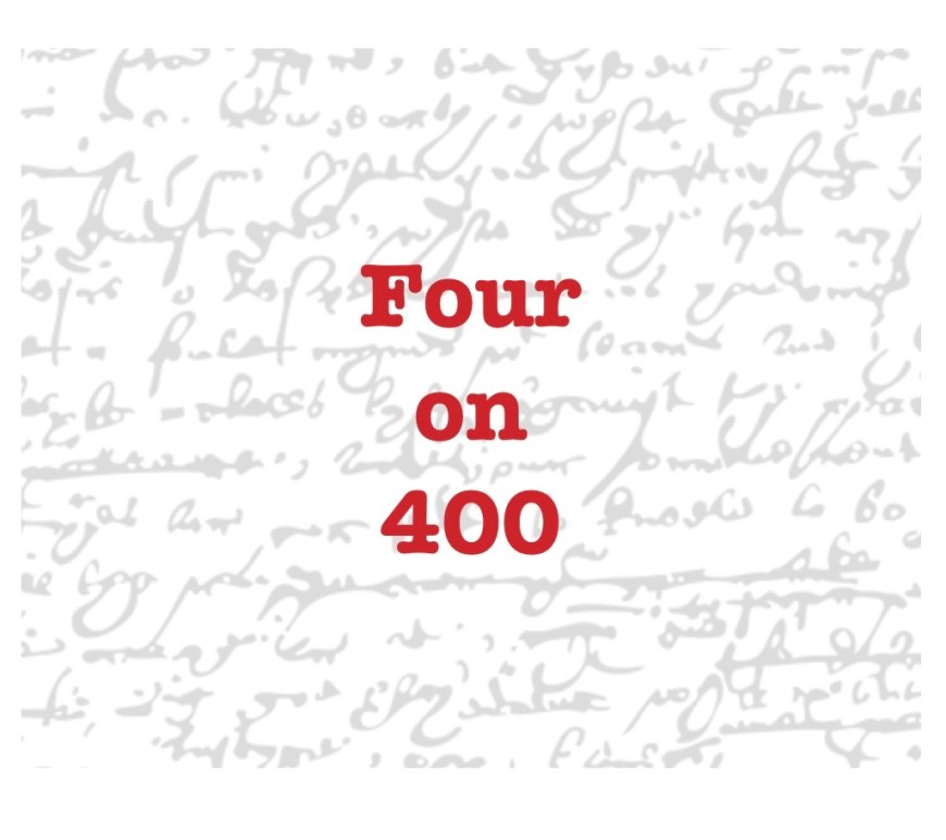 Four on 400 in bold red on a background of text