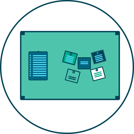 sticky notes, table, display