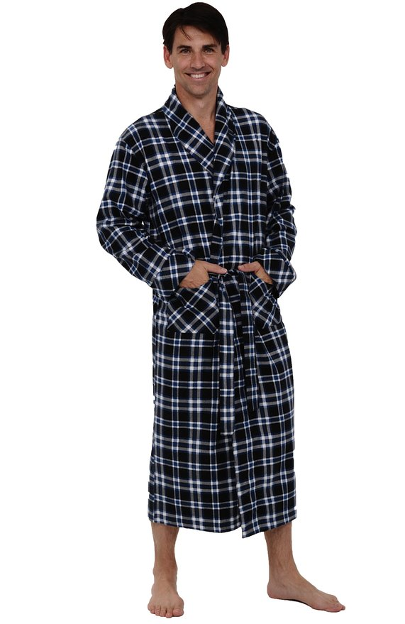 Del Rossa Men's 100% Cotton Flannel Bathrobe Robe