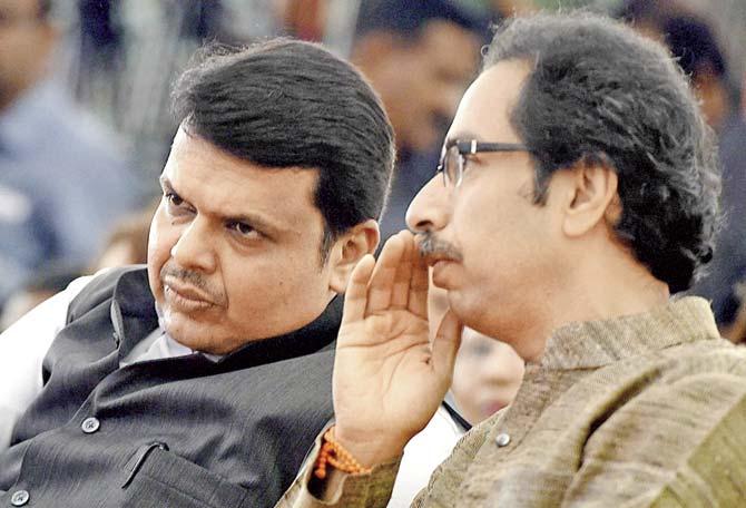 Maharashtra Chief Minister Devendra Fadnavis and Shiv Sena chief Uddhav Thackeray