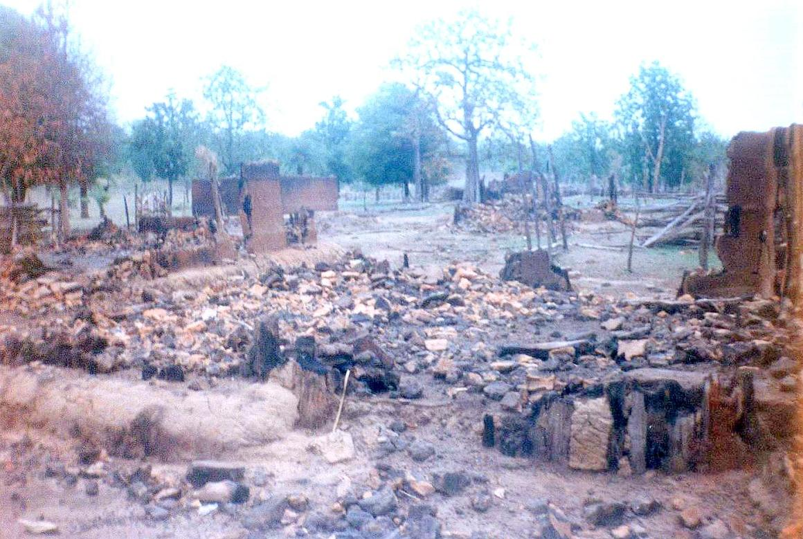 Burnt village in Dantewada, 2007. Photo taken by college student visiting his village.