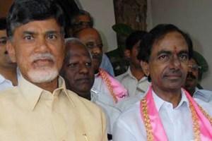 Chandrababu Naidu (left) and KCR. Credit: YouTube Screengrab