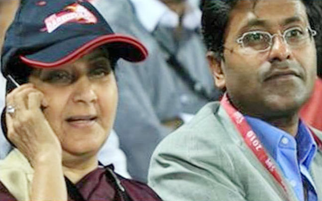 File photo of Sushma Swaraj and Lalit Modi at a cricket match in 2010. PTI photo.