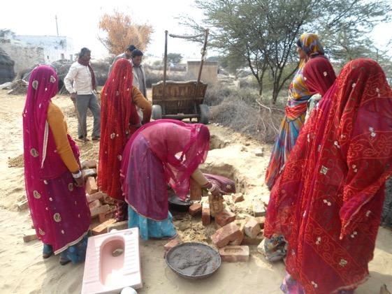 Women mason groups building toilets in Lunkaransar Block in Bikaner.