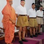 RSS Chief Mohan Bhagwat and Swami Madhav Priya during the Officers Training Camp (OTC) of Rashtriya Swayamsevak Sangh (RSS) at Reshimbagh in Nagpur, Maharashtra. Credit:  PTI Photo