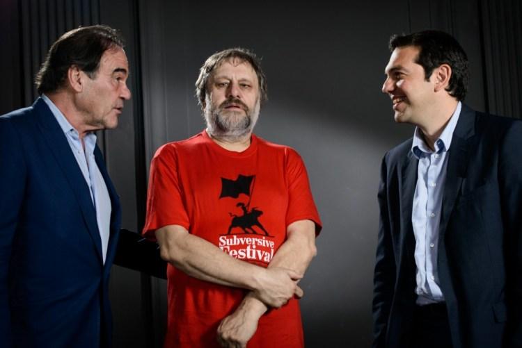 File photo of Alexis Tsipras, Oliver Stone, Slavoj Zizek in Zagreb. Credit: Robert Crc, CC 2.0