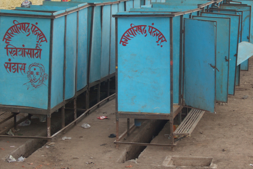 Temporary toilets erected by the local council. Credit: Yaniv Malz/Flickr CC 2.0