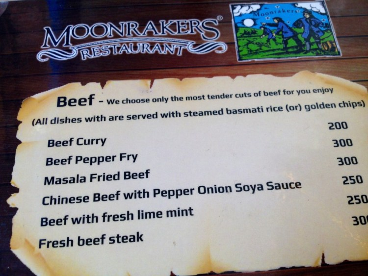The menu at Moonrakers restaurant, Mahabalipuram. Credit: S. Anand
