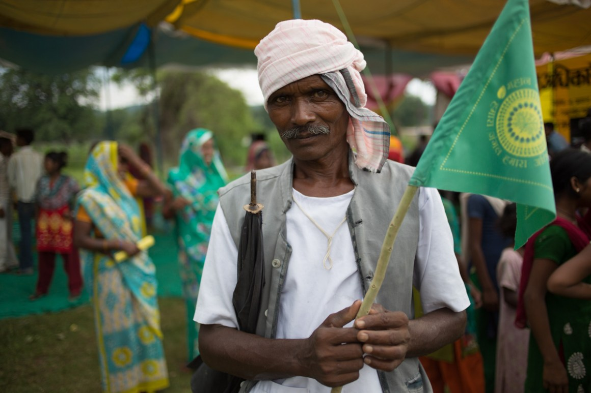 A villager at a public meeting of the Mahan Sangram Samiti in Madhya Pradesh, a campaign in which Greenpeace India is involved. Credit: Greenpeace.org