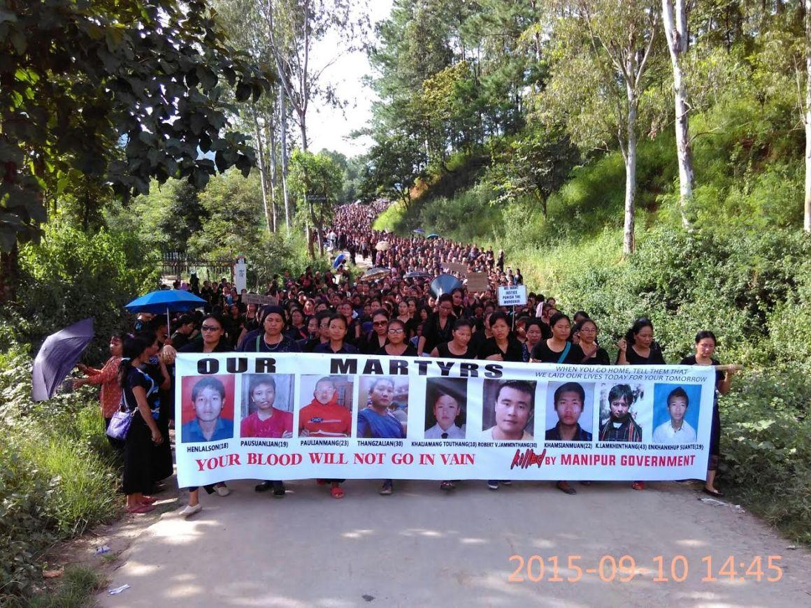 Protests in Churachandpur. Credit: Special Arrangement