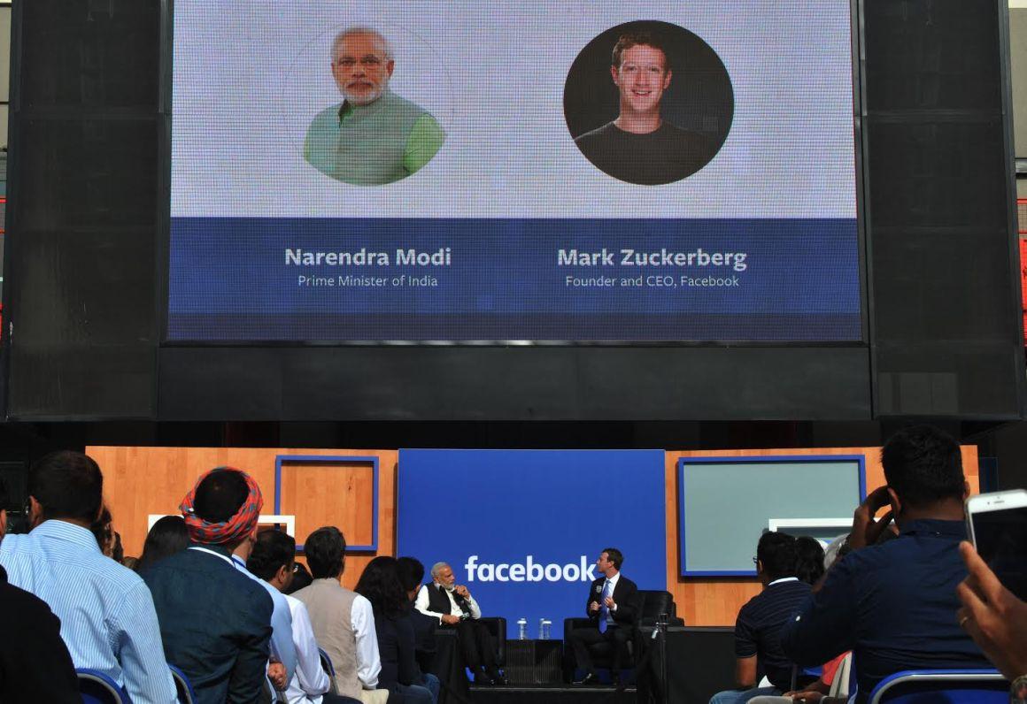Modi and Zuckerberg in conversation. Credit: MEA