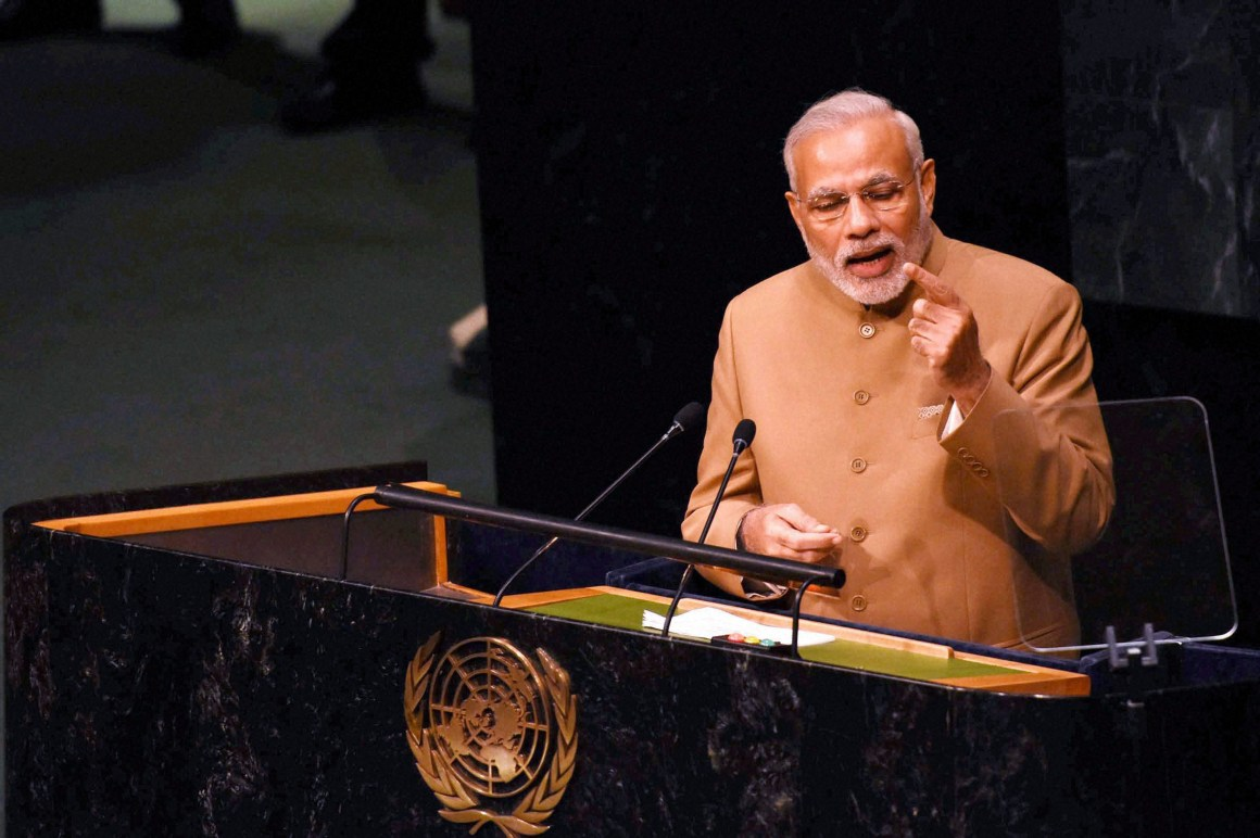 Prime Minister Narendra Modi addresses the 70th session of the United Nations General Assembly at UN headquarters in New York on Friday. Credit: PTI Photo by Subhav Shukla