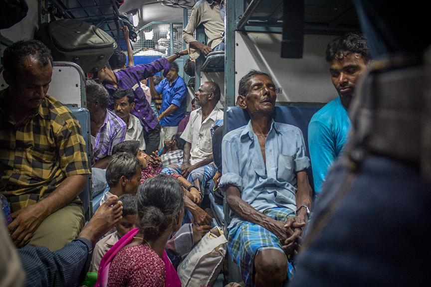Exhausted migrants from Anantapur on the Kochi-Kadiri train. Credit: Rahul M.