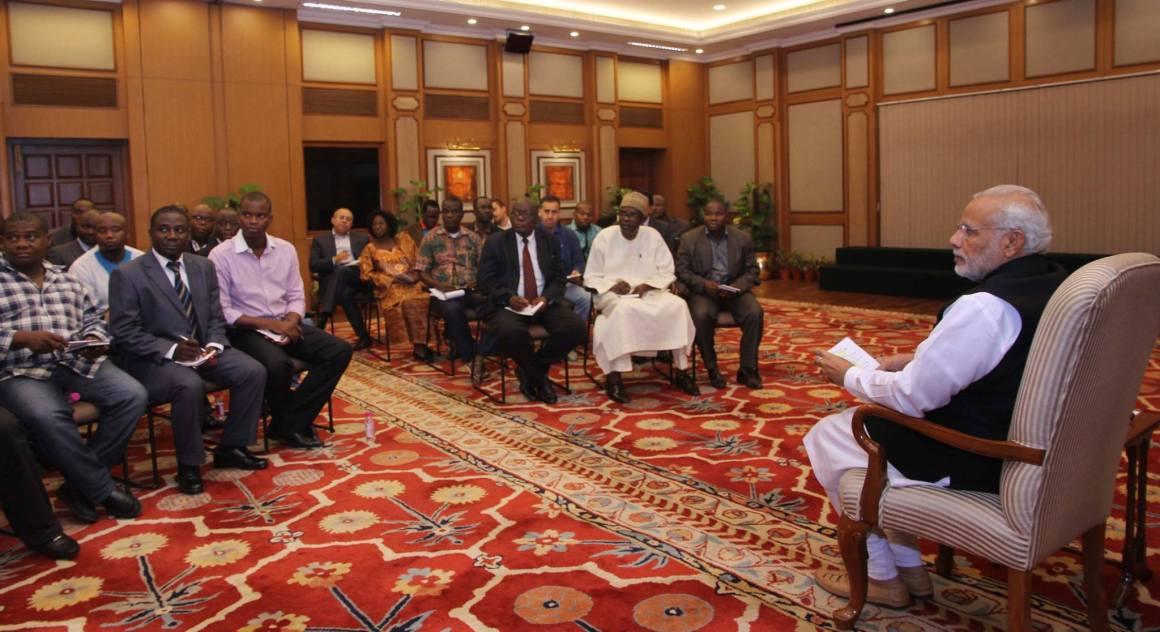 Prime Minister Narendra Modi meeting African editors in New Delhi on October 24, 2015. Credit: PMO