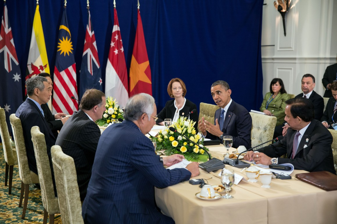 President Barack Obama attends the Trans-Pacific Partnership (TPP) meeting at the ASEAN Summit at Peace Palace in Phnom Penh, Cambodia, Nov. 20, 2012. Taking part in the meeting, clockwise from the President, are; Sultan of Brunei Hassanal Bolkiah; Prime Minister Mohammed Najib Abdul Razak of Malaysia; Prime Minister John Key of New Zealand; Prime Minister Lee Hsien Loong of Singapore; Prime Minister Nguyen Tan Dung of Vietnam; and Prime Minister Julia Gillard of Australia. Credit: Official White House Photo by Pete Souza This official White House photograph is being made available only for publication by news organizations and/or for personal use printing by the subject(s) of the photograph. The photograph may not be manipulated in any way and may not be used in commercial or political materials, advertisements, emails, products, promotions that in any way suggests approval or endorsement of the President, the First Family, or the White House.Ê