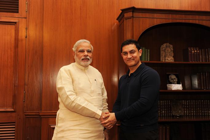 Aamir Khan and Prime Minister Narendra Modi, June 2014. Credit: PMO