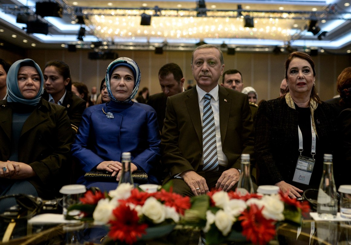 Turkish President Recep Tayyip Erdogan at the opening session of the Women-20 (W20) Summit in Istanbul, Turkey on October 16, 2015. Credit: G20 Pool/Salih Zeki Fazlioglu / Anadolu Agency