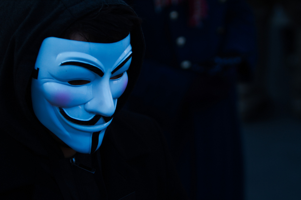 The Guy Fawkes mask. Credit: equinoxefr/Flickr, CC BY 2.0