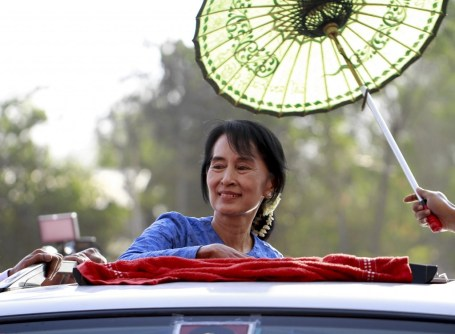 File photo of Aung San Suu Kyi campaigning. Credit: Htoo Tay Zar/CC BY-SA 3.0 via Wikimedia Commons