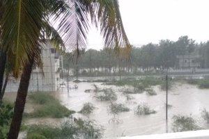 A flooded ground along Old Mahabalipuram Road in Chennai following two days of cyclonic rains in the city. Credit: Vijay Thamarai