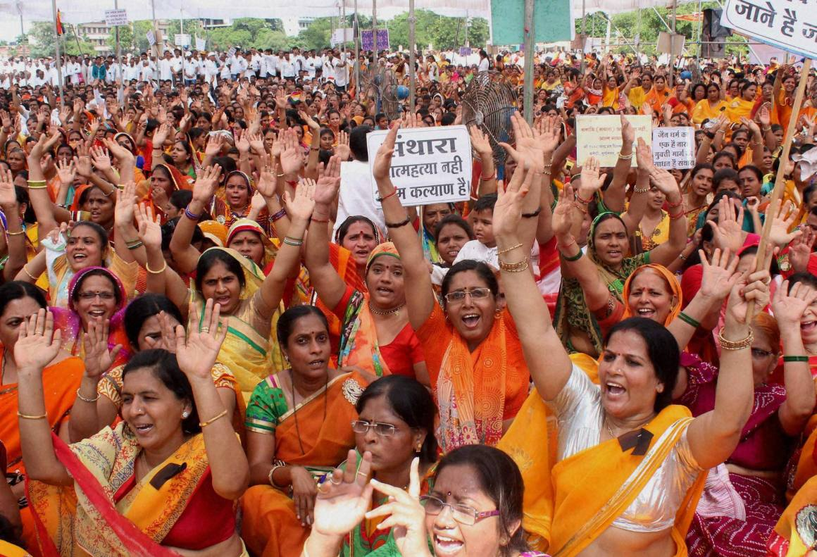 Women of the Jain community participate in a protest against the ban on Santhara by the Rajasthan High Court, in Nagpur. Credit: PTI